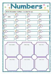 Printables Number Writing Worksheets 1-20 english teaching worksheets numbers 1 20 writing the and follow up drawing
