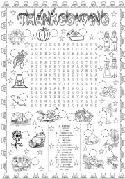 English Worksheet: THANKSGIVING WORD SEARCH