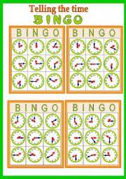 English worksheet: Telling he time Bingo game (fully editable)