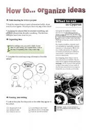 English Worksheets: Writting series: How to... organize ideas
