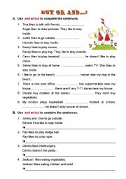 English Worksheets: But or And