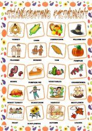 English Worksheet: THANKSGIVING PICTIONARY