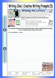 English Worksheets: Writing Clinic: Creative Writing Prompts (5) - Winning the Lottery
