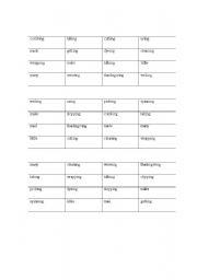 English Worksheets: words ending in ing