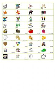 English Worksheet: Movers vocabulary -Singular/Plural