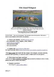 English Worksheet: ellis island webquest