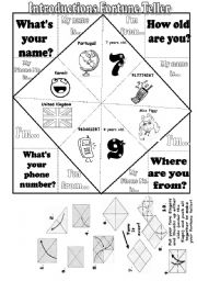 Introductions Fortune Teller- Fully Editable
