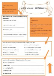 English Worksheets: so and because�so that and to