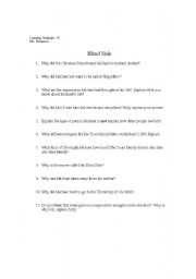 English Worksheets: Blind Side Movie Questions