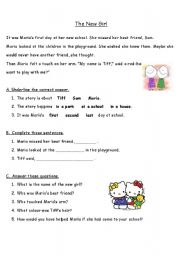 English Worksheets: the new girl