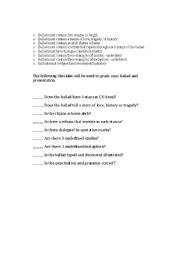 English Worksheets: Ballad Assignment