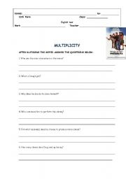English Worksheets: Worksheet on the movie Multiplicity