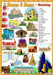English Worksheet: HOUSES & HOMES - Matching