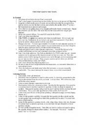 English Worksheet: TIPS FOR TAKING THE TOEFL