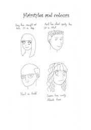 English Worksheet: Hairstyles and colours