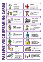 English Worksheets: SET 4: Passive voice / tenses / adverbs of frequency / irregular verbs / modals - worksheet OR speaking activity (purple series)