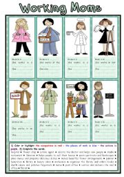 English Worksheet: Working Moms (1/2)