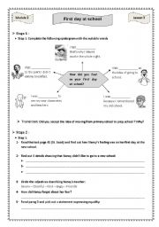 English Worksheet: First day at school Module 2 Lesson 3 9th form Tunisia