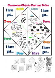 English Worksheet:  Classroom Objects fortune Teller +  verb have got + verb To be +numbers+ colours- 2 pages FULLY EDITABLE