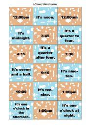 English Worksheets: Memory (time) game