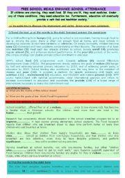 English Worksheet: FREE SCHOOL MEALS ENHANCE SCHOOL ATTENDANCE
