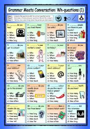 English Worksheets: Grammar Meets Conversation: Wh-questions (1) - Getting To Know You