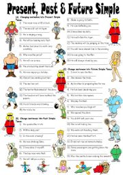 Exercises on Present, Past & Future Simple Tenses (Editable with Answers)