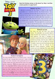 English Worksheet: Toy Story 3 reading comprehension exercise