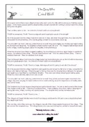 The Boy Who Cried Wolf Humorous Story, Worksheet, and Summary Cartoon