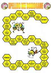 English Worksheet: Spelling Bee Boardgame