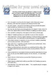 English Worksheets: Novel Study Questions