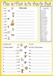 English Worksheet: This is/That is/Is this/Is that
