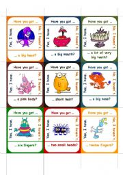 English Worksheets: HAVE YOU GOT ... go fish game