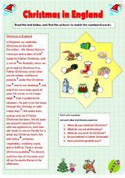 English Worksheet CHRISTMAS IN ENGLAND