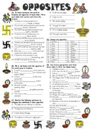 English Worksheet: Exercises on Opposites (Editable with Answer Key)