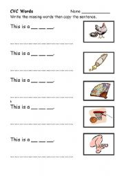 English worksheets: cvc words: middle ´e´