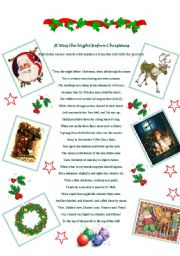 English Worksheet: It was the night before Christmas - reading and matching