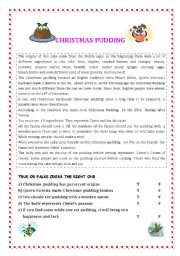 English Worksheet: CHRISTMAS PUDDING READING