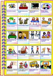 English Worksheets: Are they..? Yes, they are. No, they aren�t. They are... (No guidance - with answer key)**editable