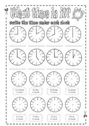 English Worksheet: Time-telling practice sheets