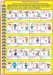 English worksheet: He / She likes/does not like (food). (Partial guidance - with answer key)**fully editable