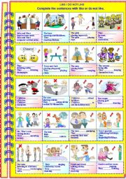 English Worksheet: They like / do not like.... (No guidance - with answer key)** fully editable