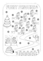 English Worksheet: Christmas Funny Penguins