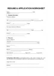 English worksheet: RESUME & APPLICATION WORKSHEET