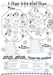 English Worksheets: likes and dislikes