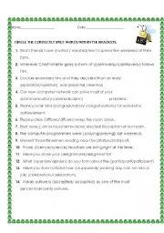 English Worksheets: Spellings