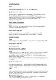 English Worksheet: Job Adverts