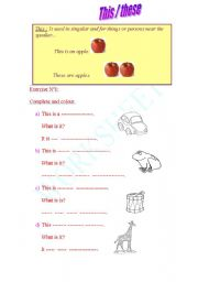 English Worksheets: this /these