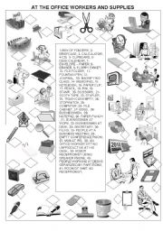 English Worksheet: AT THE OFFICE - WORKERS AND SUPPLIES