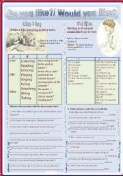 English Worksheet: Dou you like?  Would you like?